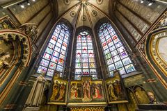 Interiors of Notre dame d'Anvers cathedral, Anvers, Belgium. Interiors, paintings and details of Notre dame d'Anvers cathedral, Anvers, Belgium Stock Images