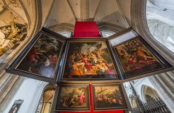 Interiors of Notre dame d'Anvers cathedral, Anvers, Belgium Stock Image