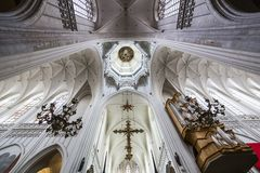 Interiors of Notre dame d'Anvers cathedral, Anvers, Belgium. Interiors, paintings and details of Notre dame d'Anvers cathedral, Anvers, Belgium Royalty Free Stock Photos