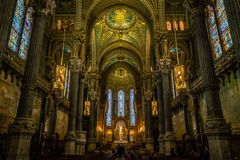 Interiors of the Notre-Dame-de-Fourvières church. In Lyon in France Stock Image