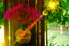 Interiors, orchid plant vases with beautiful purple  blossoms with lighting flare effect on window.  Stock Photo