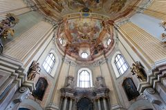 Interiors of Pilgrimage Church in Krtiny village Stock Photos