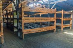 Interiors of prisoner barracks with beds at Majdanek Concentration Camp. Lublin, Poland - April 14, 2018: Lublin, Poland - April 14, 2018: Interiors of prisoner royalty free stock photo