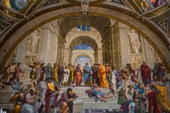 Interiors of Raphael rooms, Vatican museum, Vatican. VATICAN CITY, VATICAN, JUNE 12, 2015 : interiors and architectural details of Raphael rooms in Vatican stock image