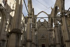 Interiors of the roofless Carmo Convent in Lisbon Royalty Free Stock Photo
