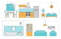 Interiors room with furniture. Flat style  illustration Stock Image