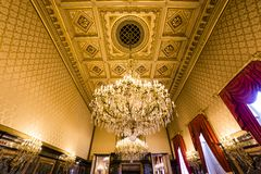 Interiors of Royal Palace, Brussels, Belgium. BRUSSELS – AUGUST 06 : An interior view of the Royal Palace in Brussels, Belgium, AUGUST 06, 2014 in Brussels Royalty Free Stock Image