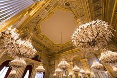 Interiors of Royal Palace, Brussels, Belgium. BRUSSELS – AUGUST 06 : An interior view of the Royal Palace in Brussels, Belgium, AUGUST 06, 2014 in Brussels Royalty Free Stock Photography