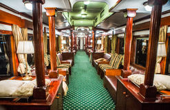 The interiors of the royal wagon train in Zambia. ZAMBIA, LIVINGSTON, AFRICA – 18 JULY: The interiors of the royal wagon train in Zambia Royalty Free Stock Photo