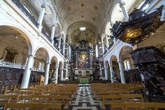 Interiors of Saint Charles Borromee church, Anvers, Belgium Stock Image