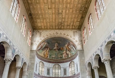 Interiors of Saint Sabina Basilica in Rome, Italy Stock Image
