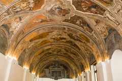 Interiors of San Lorenzo Maggiore church, Naples, Italy Royalty Free Stock Images
