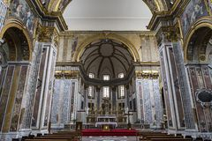 Interiors of San Paolo Maggiore church, Naples, Italy Royalty Free Stock Images