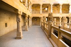 Interiors of a sandstone fort with carved pillars. And railings made of sandstone. The fort of Jaisalmer India has some amazing architecture Royalty Free Stock Photo