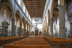 Interiors of Santa Croce basilica, Florence, Italy Stock Photo