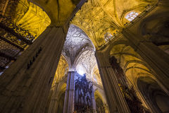 Interiors of Seville cathedral, Seville, Andalusia, spain Royalty Free Stock Photos