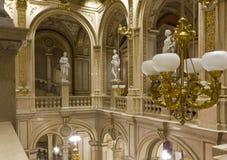 Interiors of Vienna Opera House, nobody around. VIENNA, AUSTRIA - JANUARY 2 2016: Interiors of Vienna Opera House, nobody around Royalty Free Stock Images