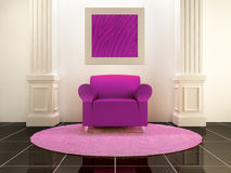 Interiors - Violet seat between the columns Royalty Free Stock Photos