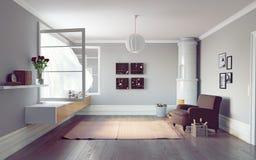 interiorvardagsrum för bild 3d Arkivfoton