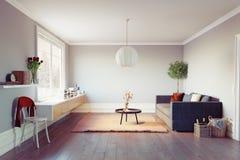 interiorvardagsrum för bild 3d Royaltyfri Foto