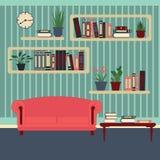 interiorvardagsrum för bild 3d home modernt Rum med bokhyllor Stock Illustrationer