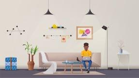 interiorvardagsrum för bild 3d Modern lägenhetscandinavian eller vinddesign den främmande tecknad filmkatten flyr illustrationtak vektor illustrationer