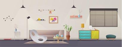 interiorvardagsrum för bild 3d Modern lägenhetscandinavian eller vinddesign den främmande tecknad filmkatten flyr illustrationtak royaltyfri illustrationer