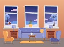 interiorvardagsrum f?r bild 3d Violett soffa med tabellen, nightstand, målningar, lampor, vas, matta, porslinuppsättning, mjuka s royaltyfri illustrationer