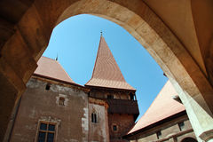 Hunedoara Corvin Castle. Interiour court of Corvin's Castle in Hunedoara stock image