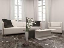 Interiow da sala de visitas com janela e sofá de baía ilustração stock