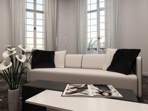 Interiow de salon avec la fenêtre en saillie et le divan Images stock