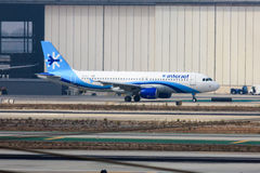 Interjet Airbus A320. Interjet Mexican airline Airbus A320 parked in front of airplane hangar Stock Image