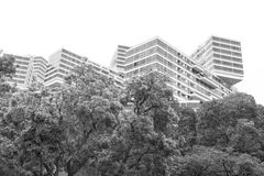 Interlace. Stacking and interlace of modern building in black and white Stock Photos