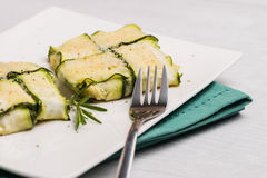 Interlaced courgettes or zucchini slices Stock Photos