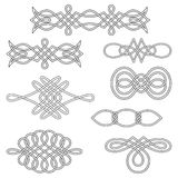 Interlaced decorations. Set of nine interlaced decorations Royalty Free Stock Image