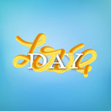 Interlaced lettering `Love day`. Banner for Valentine`s day, 14 February Royalty Free Stock Photography