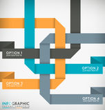 Interlaced Ribbons. Decorative Interlaced Paper Ribbons Vector Infographic Template Royalty Free Stock Images