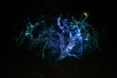 Interlaced roots shape alien planet in galaxy.