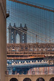 Interlaced suspension cables of the Brooklyn and Manhattan Bridges Royalty Free Stock Image