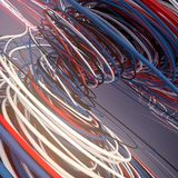 Interlacing abstract blue red and white curves. 3D rendering. Abstract colored strands. Blue red and white lines pattern. 3D rendering Stock Image