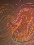 Interlacing abstract red and orange curves. 3D rendering stock illustration