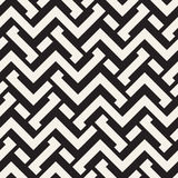 Interlacing Lines Maze Lattice. Ethnic Monochrome Texture. Vector Seamless Black and White Pattern stock illustration
