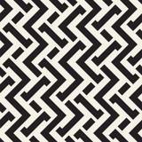 Interlacing Lines Maze Lattice. Ethnic Monochrome Texture. Vector Seamless Black and White Pattern Royalty Free Stock Photo
