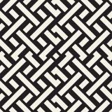 Interlacing Lines Maze Lattice. Ethnic Monochrome Texture. Vector Seamless Black and White Pattern Stock Photography