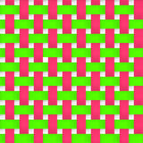Interlacing paper, fabric green and pink tapes with drop shadows and bending elements.  Seamless vector texture. Royalty Free Stock Image