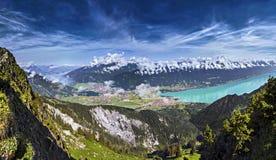 The Swiss Alps. Breathtaking mountain panorama over Interlaken, Lake Brienz and the Bernese Alps, Switzerland Stock Photo