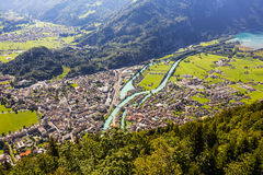Interlaken and Aare river Royalty Free Stock Photos