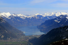 Interlaken Brienzersee with Alps mountains Switzerland aerial vi Royalty Free Stock Images
