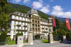 Interlaken, großartiges Hotel Beau Rivage Lindner Stockbild