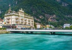 Interlaken miasteczko z Thunersee rzeką Zdjęcie Stock